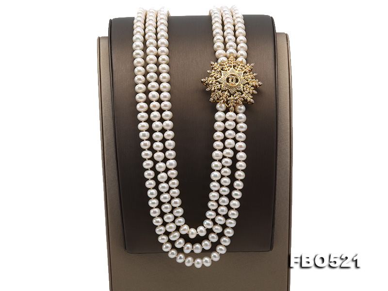 High Grade 8-8.5mm Three-Strand Freshwater Pearl Opera Necklace big Image 5