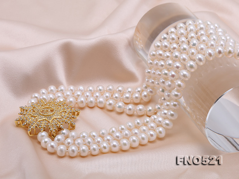 High Grade 8-8.5mm Three-Strand Freshwater Pearl Opera Necklace big Image 6