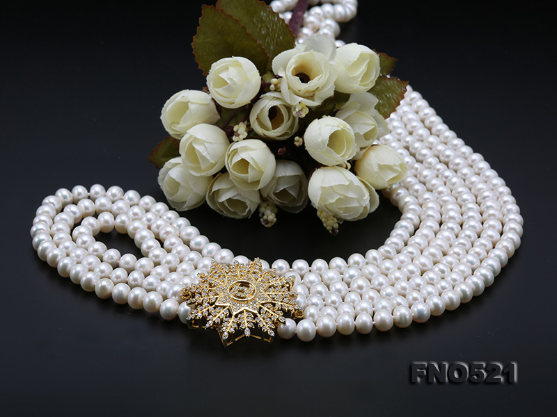High Grade 8-8.5mm Three-Strand Freshwater Pearl Opera Necklace big Image 8