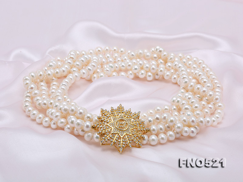 High Grade 8-8.5mm Three-Strand Freshwater Pearl Opera Necklace big Image 9
