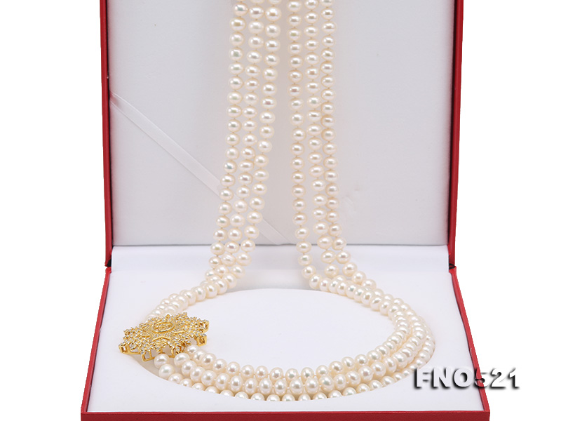 High Grade 8-8.5mm Three-Strand Freshwater Pearl Opera Necklace big Image 10
