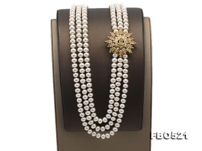 High Grade 8-8.5mm Three-Strand Freshwater Pearl Opera Necklace FNO521 Image 5