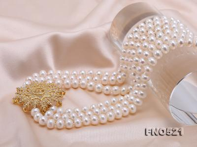High Grade 8-8.5mm Three-Strand Freshwater Pearl Opera Necklace FNO521 Image 6