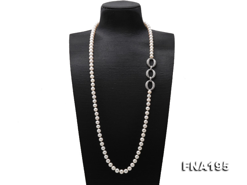 8.5-9.5mm White Round Freshwater Pearl Opera Necklace big Image 1