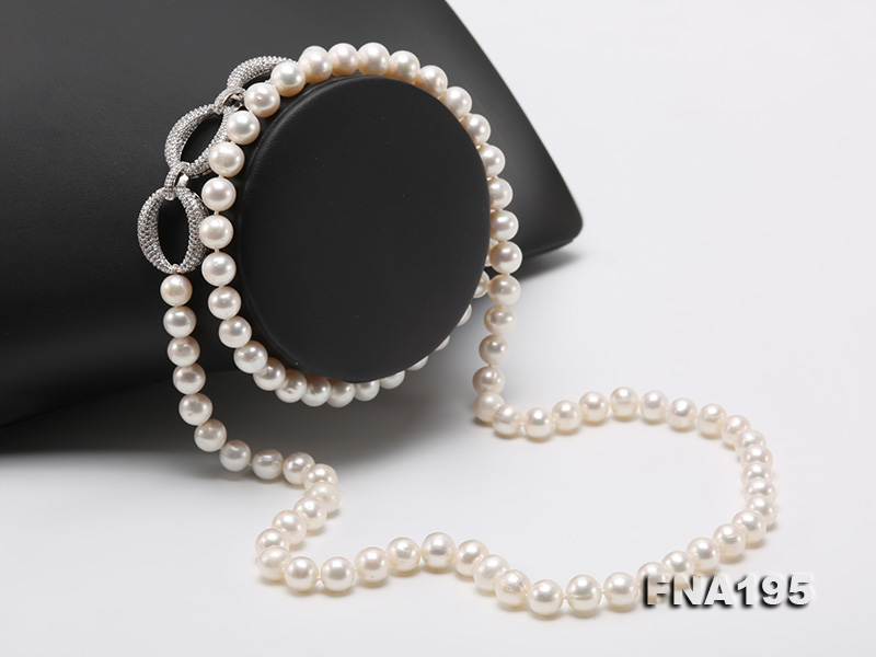 8.5-9.5mm White Round Freshwater Pearl Opera Necklace big Image 2