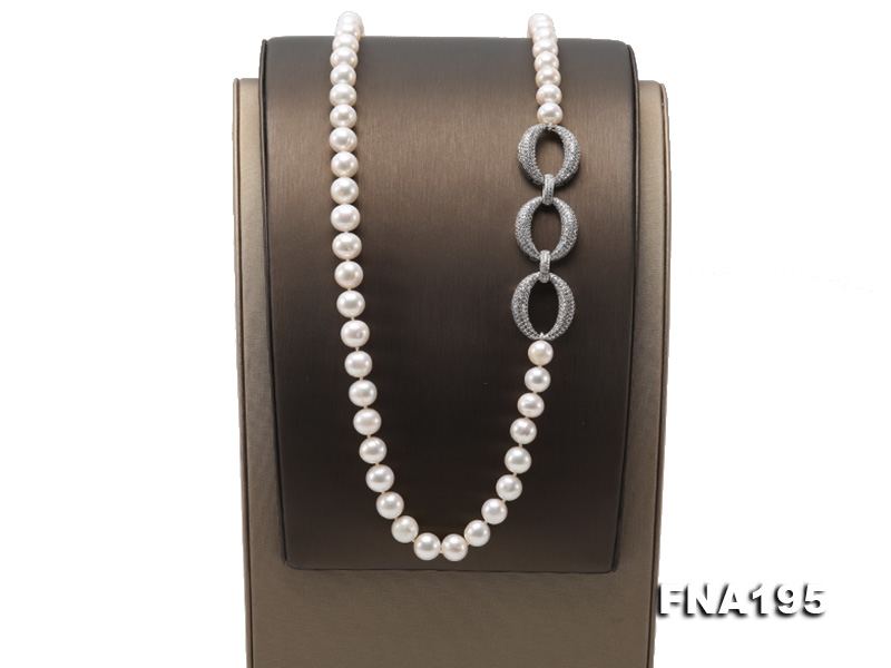 8.5-9.5mm White Round Freshwater Pearl Opera Necklace big Image 3