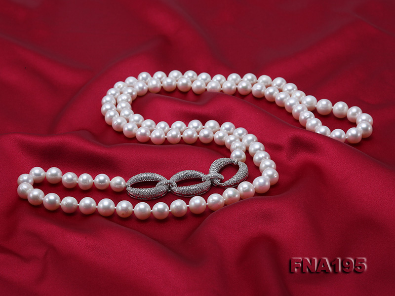 8.5-9.5mm White Round Freshwater Pearl Opera Necklace big Image 4