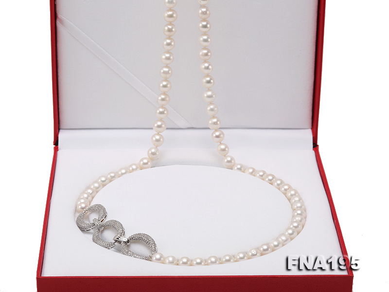 8.5-9.5mm White Round Freshwater Pearl Opera Necklace big Image 6