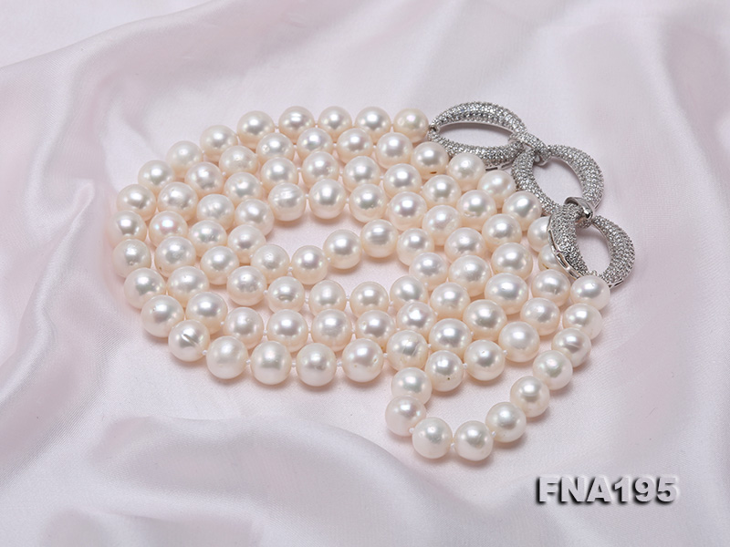 8.5-9.5mm White Round Freshwater Pearl Opera Necklace big Image 7