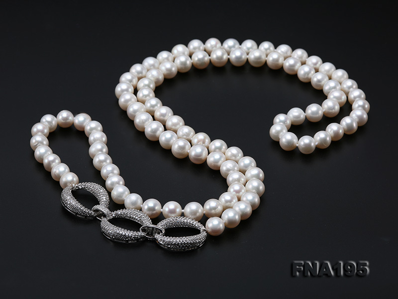 8.5-9.5mm White Round Freshwater Pearl Opera Necklace big Image 9