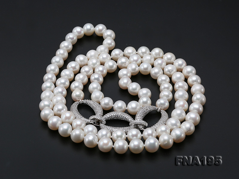 8.5-9.5mm White Round Freshwater Pearl Opera Necklace big Image 10