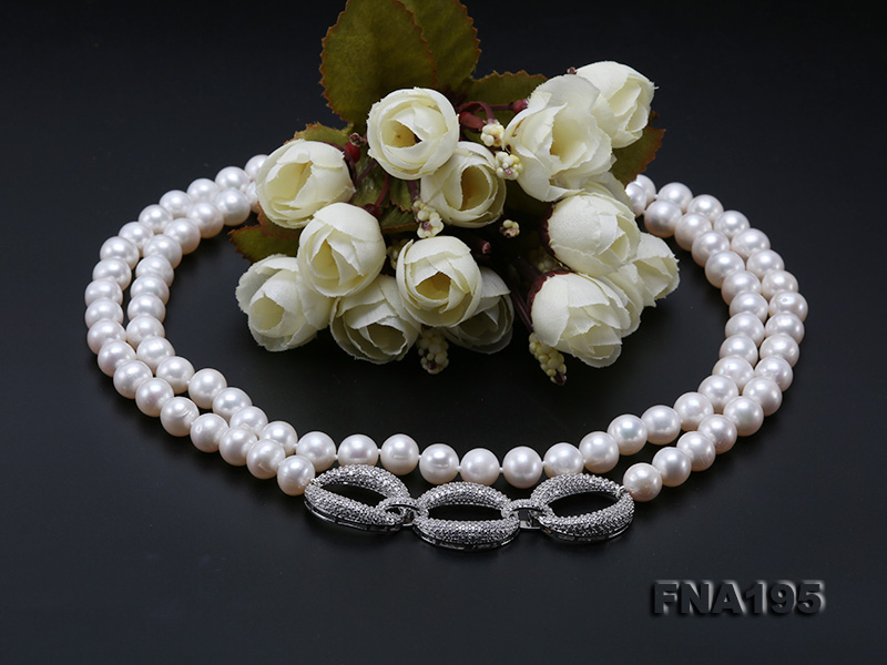 8.5-9.5mm White Round Freshwater Pearl Opera Necklace big Image 11