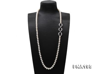 8.5-9.5mm White Round Freshwater Pearl Opera Necklace FNA195 Image 1