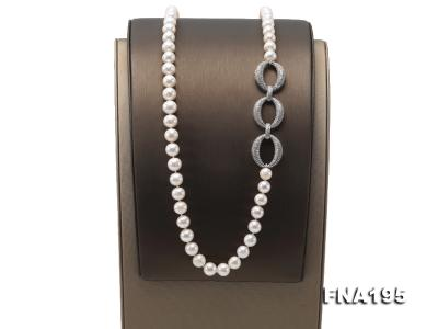 8.5-9.5mm White Round Freshwater Pearl Opera Necklace FNA195 Image 3