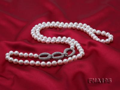 8.5-9.5mm White Round Freshwater Pearl Opera Necklace FNA195 Image 4