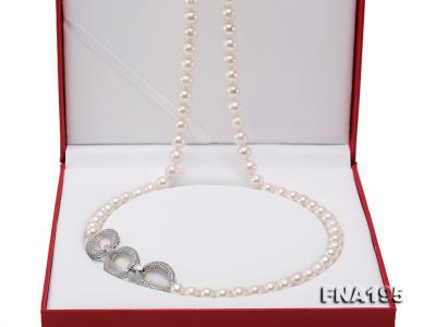 8.5-9.5mm White Round Freshwater Pearl Opera Necklace FNA195 Image 6