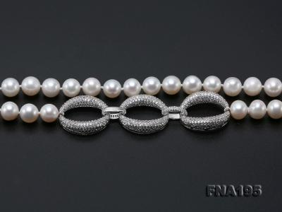 8.5-9.5mm White Round Freshwater Pearl Opera Necklace FNA195 Image 8