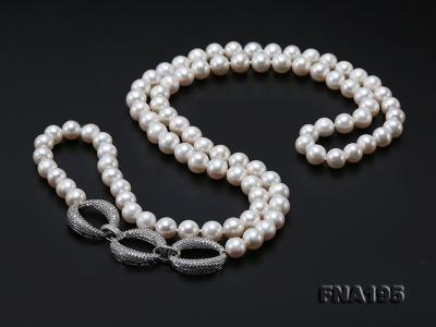 8.5-9.5mm White Round Freshwater Pearl Opera Necklace FNA195 Image 9