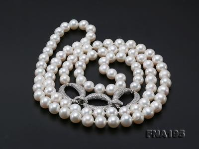 8.5-9.5mm White Round Freshwater Pearl Opera Necklace FNA195 Image 10