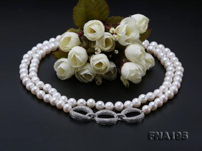 8.5-9.5mm White Round Freshwater Pearl Opera Necklace FNA195 Image 11