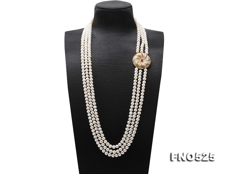 High Grade 8-9mm Three-Strand Freshwater Pearl Opera Necklace big Image 1