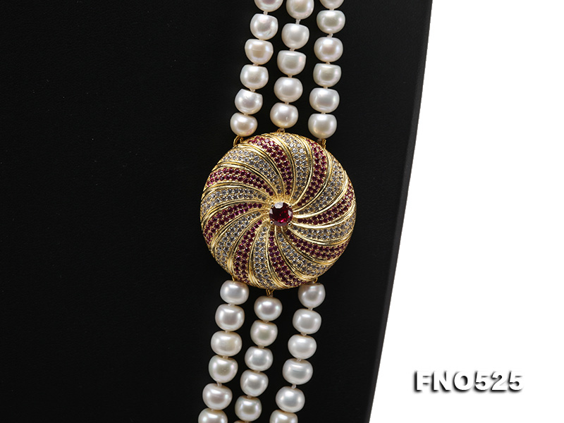 High Grade 8-9mm Three-Strand Freshwater Pearl Opera Necklace big Image 2