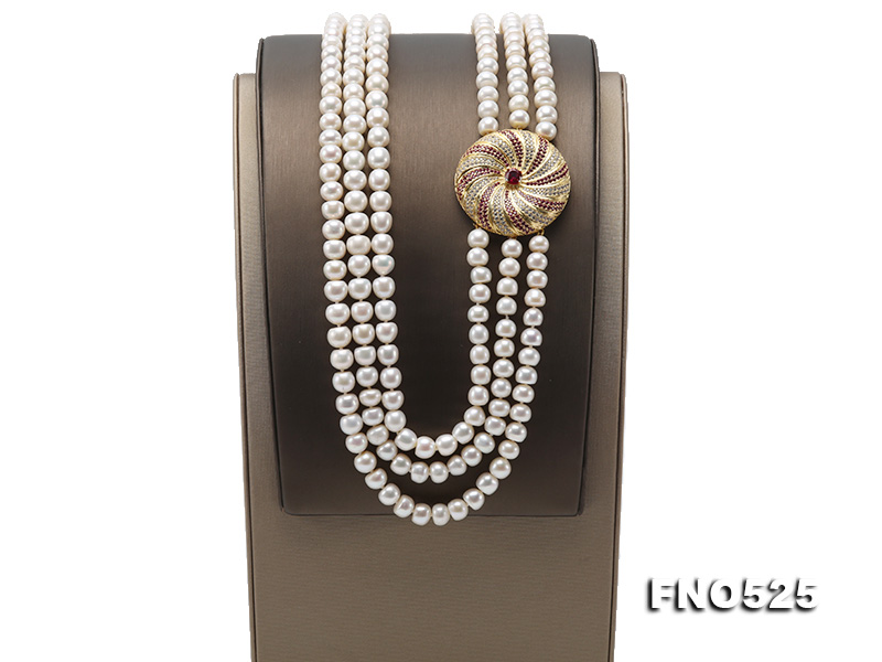 High Grade 8-9mm Three-Strand Freshwater Pearl Opera Necklace big Image 3