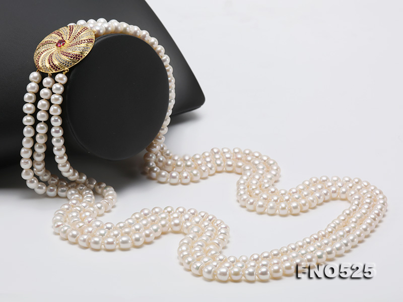 High Grade 8-9mm Three-Strand Freshwater Pearl Opera Necklace big Image 4