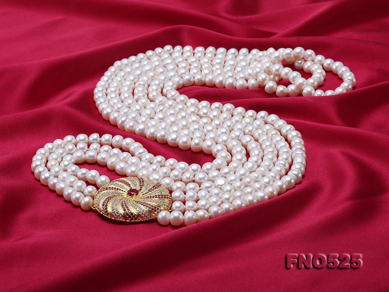 High Grade 8-9mm Three-Strand Freshwater Pearl Opera Necklace big Image 5