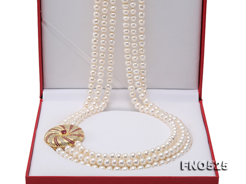 High Grade 8-9mm Three-Strand Freshwater Pearl Opera Necklace big Image 8