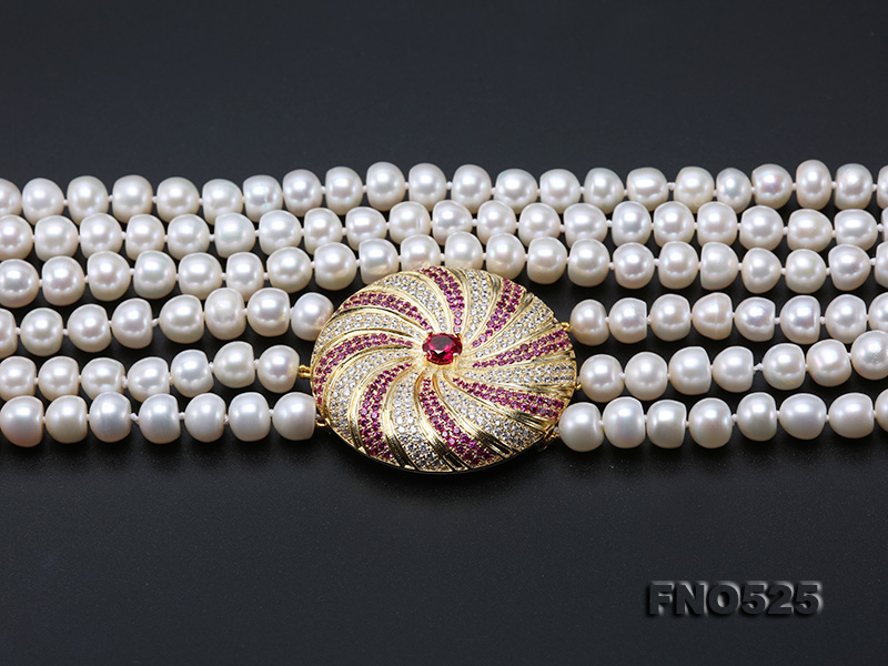High Grade 8-9mm Three-Strand Freshwater Pearl Opera Necklace big Image 9