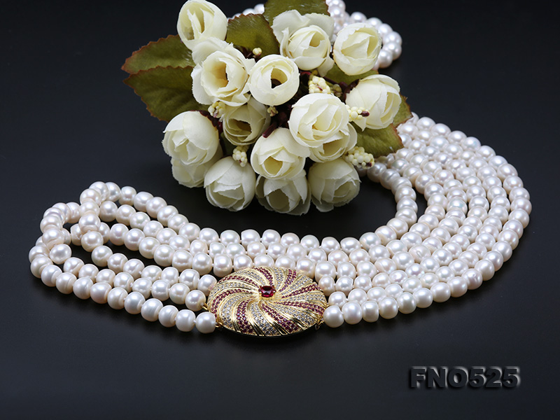 High Grade 8-9mm Three-Strand Freshwater Pearl Opera Necklace big Image 10