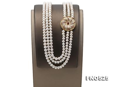 High Grade 8-9mm Three-Strand Freshwater Pearl Opera Necklace FNO525 Image 3