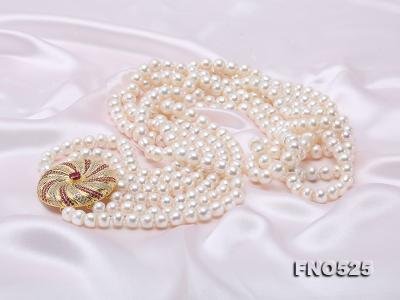 High Grade 8-9mm Three-Strand Freshwater Pearl Opera Necklace FNO525 Image 6