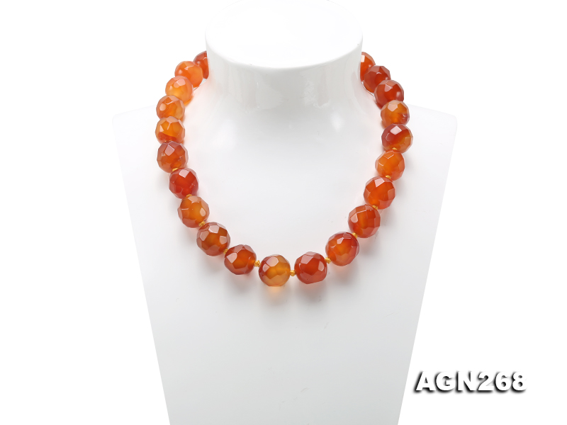 Beautiful 18mm Red Faceted Agate Necklace big Image 1