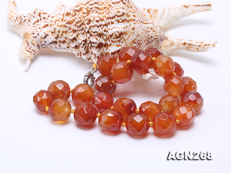 Beautiful 18mm Red Faceted Agate Necklace big Image 3
