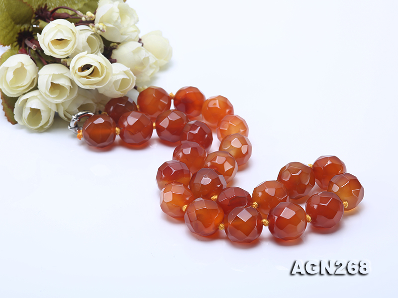 Beautiful 18mm Red Faceted Agate Necklace big Image 4