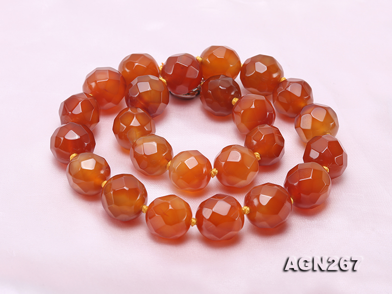 Beautiful 18mm Red Faceted Agate Necklace big Image 5