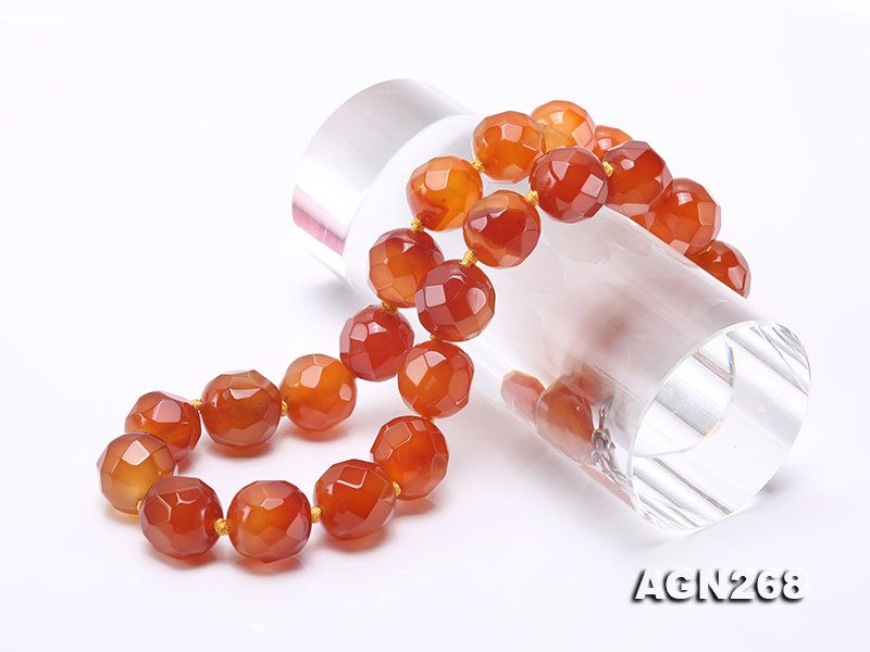 Beautiful 18mm Red Faceted Agate Necklace big Image 6
