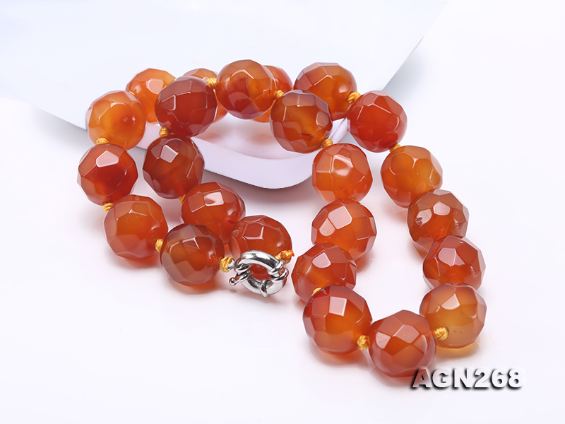 Beautiful 18mm Red Faceted Agate Necklace big Image 8