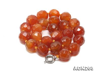 Beautiful 18mm Red Faceted Agate Necklace AGN268 Image 2