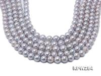 Wholesale 8.5-11mm Grey Near Round Freshwater Pearl String RPW284