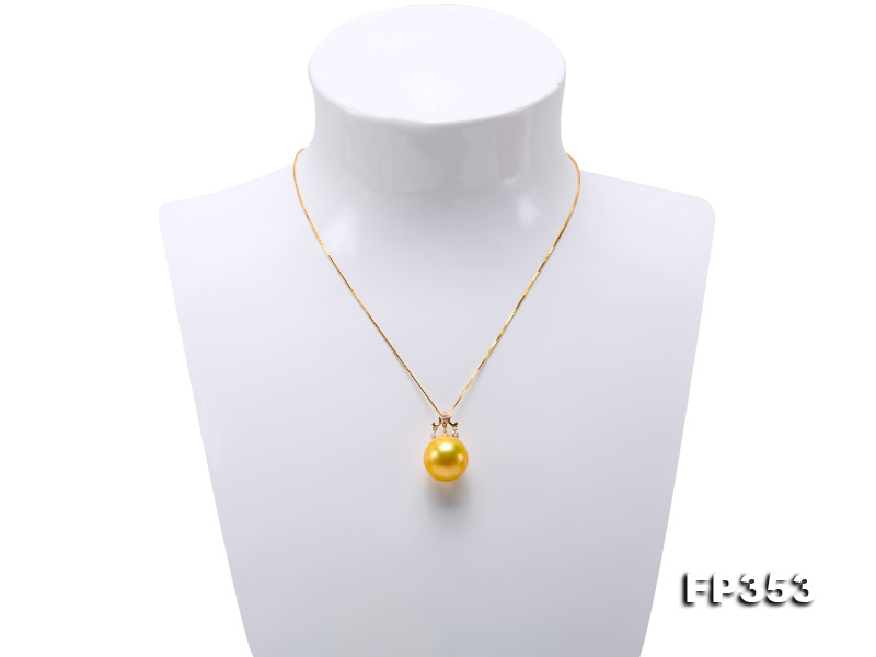 15.5mm Round Golden Freshwater Pearl Pendant big Image 2