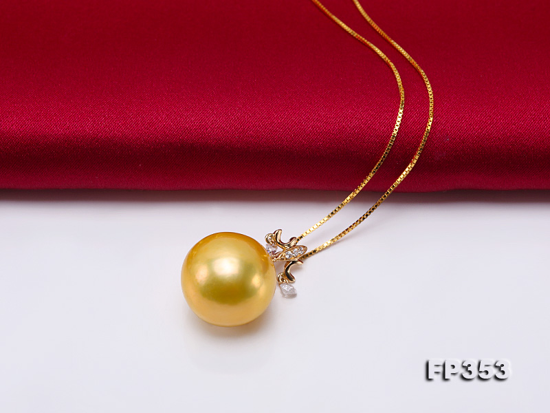 15.5mm Round Golden Freshwater Pearl Pendant big Image 3