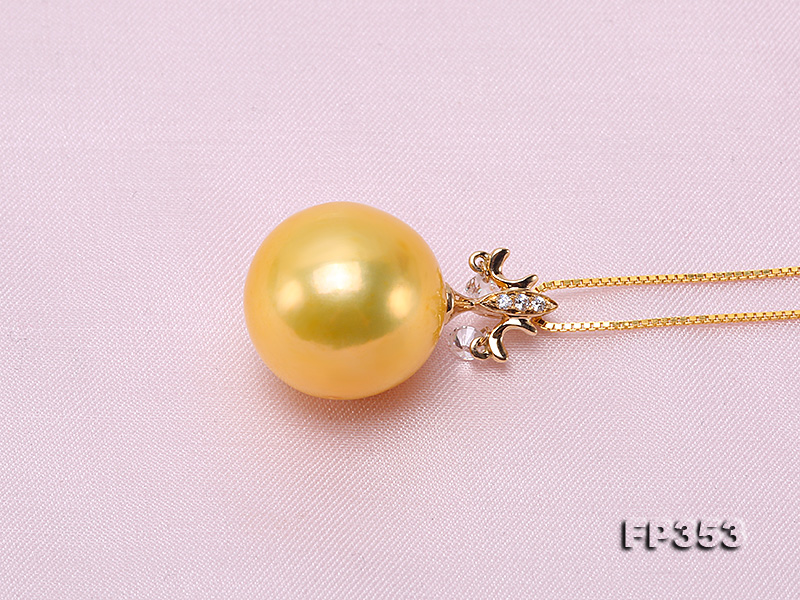 15.5mm Round Golden Freshwater Pearl Pendant big Image 4