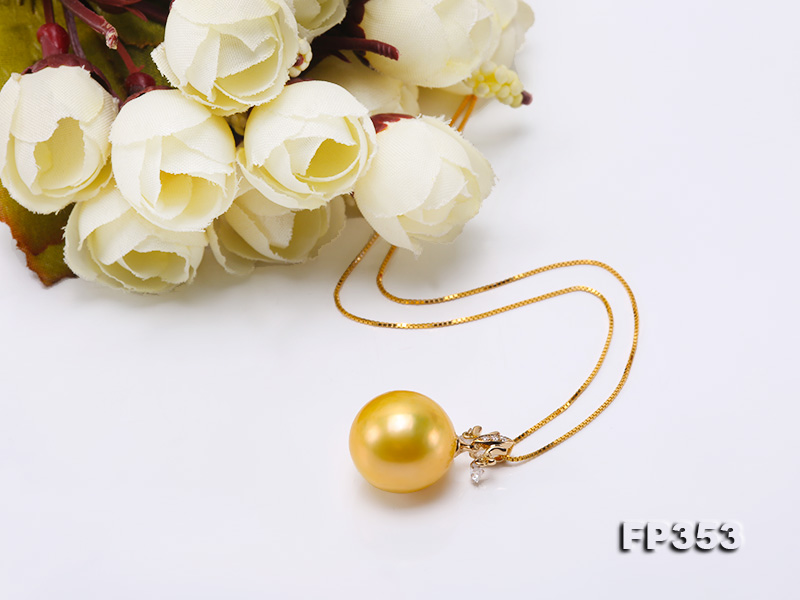 15.5mm Round Golden Freshwater Pearl Pendant big Image 6