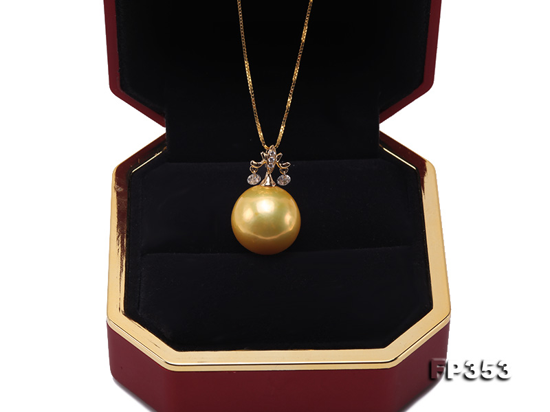 15.5mm Round Golden Freshwater Pearl Pendant big Image 7
