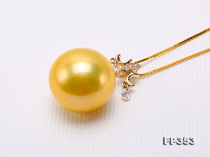 15.5mm Round Golden Freshwater Pearl Pendant big Image 8