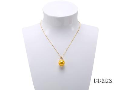 15.5mm Round Golden Freshwater Pearl Pendant FP353 Image 2