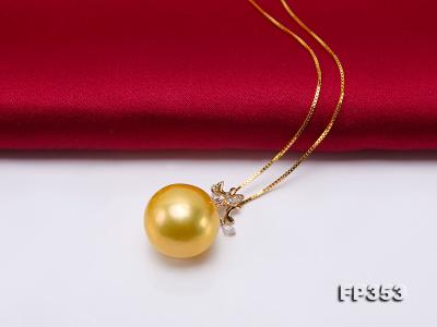 15.5mm Round Golden Freshwater Pearl Pendant FP353 Image 3